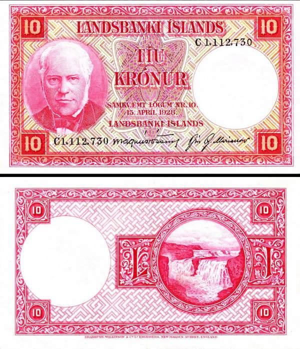 10 Krónur Island L.1928 (1948-56), Pick 33b