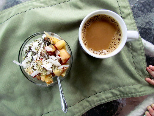 Greek Yogurt Peach Chia Seeds