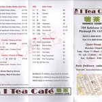 I Tea Cafe menu front