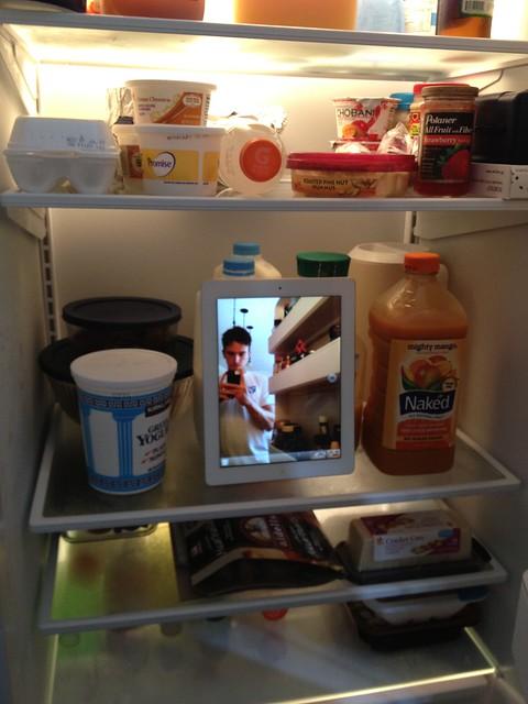 iPad in the fridge