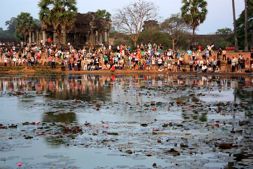 but we were joined by many others also watching the sunrise over Angkor Wat. Tourism overflow!
