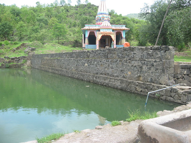 The villages on the hills face acute water shortage in summer. This  talaab constructed by the villagers of Mogarwadi on top of a hill harvests and stores rainwater.