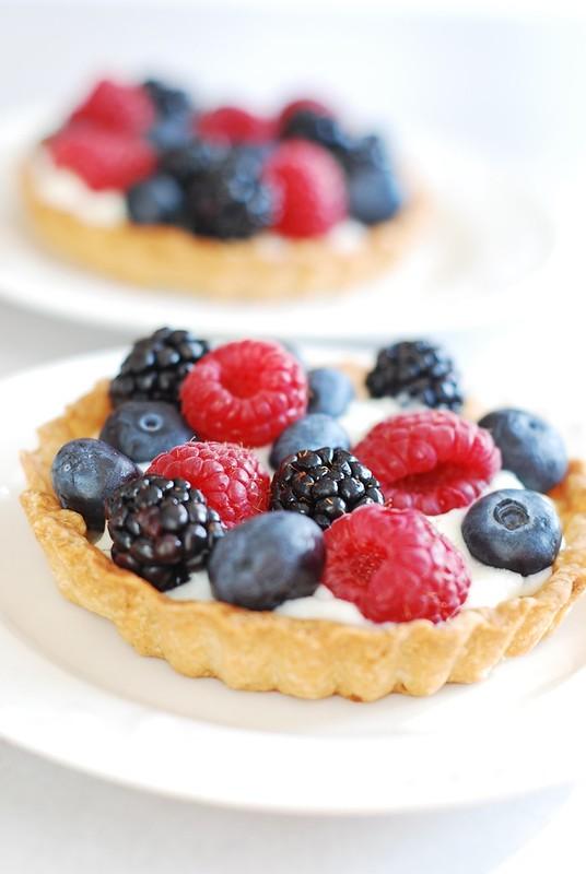 Berry tartlets with creamy kefir tart filling, dessert, blueberres, blackberries, raspberries tart, French dessert and sweets