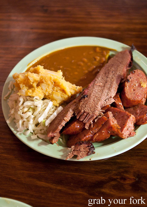 brisket and sausage plate at the salt lick bbq driftwood austin texas