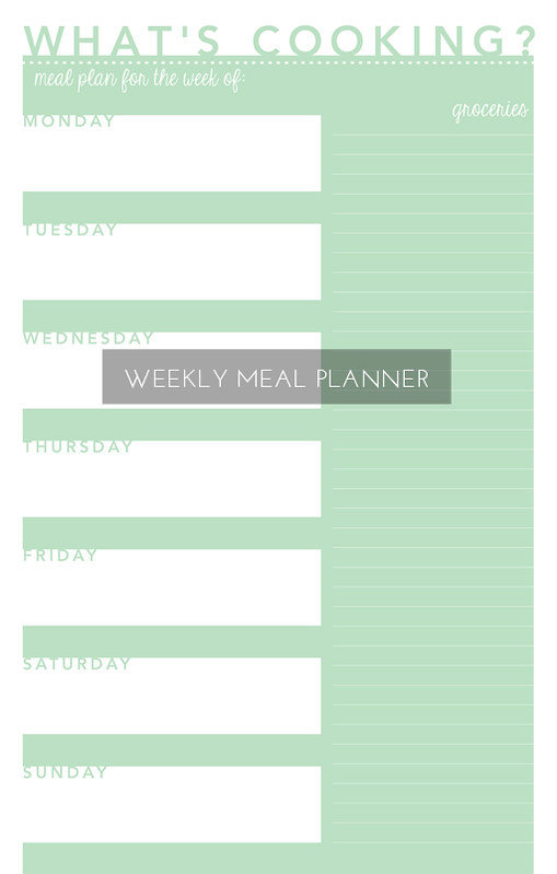 Weekly Meal Plan Free Printable