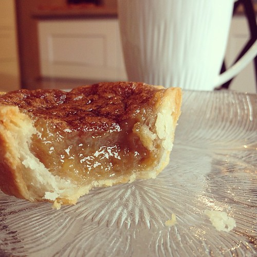 Hot butter tart + coffee = heaven. Who wants the recipe? :)