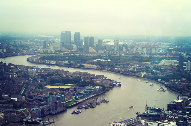 The dirty, scuzzy London skyline, complete with poo brown river Thames.