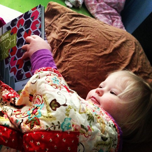I woke up to this! Well, she has great taste in books... :) #modernpatchwork