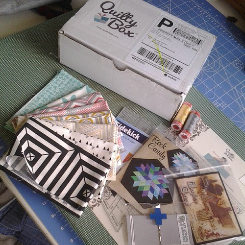 All this awesomeness in my #octoberquiltybox. Thanks @quiltybox  for having such a great idea!