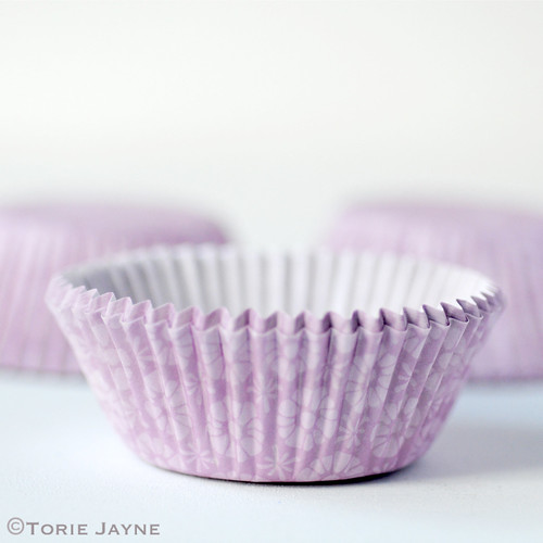 Lilac floral cupcake cases