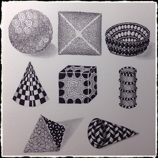 Zentangle : Geometric Shapes as Strings - Practice Page