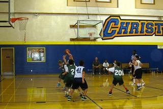 Tony shoots - sheesh that kid is grabbing his wrist