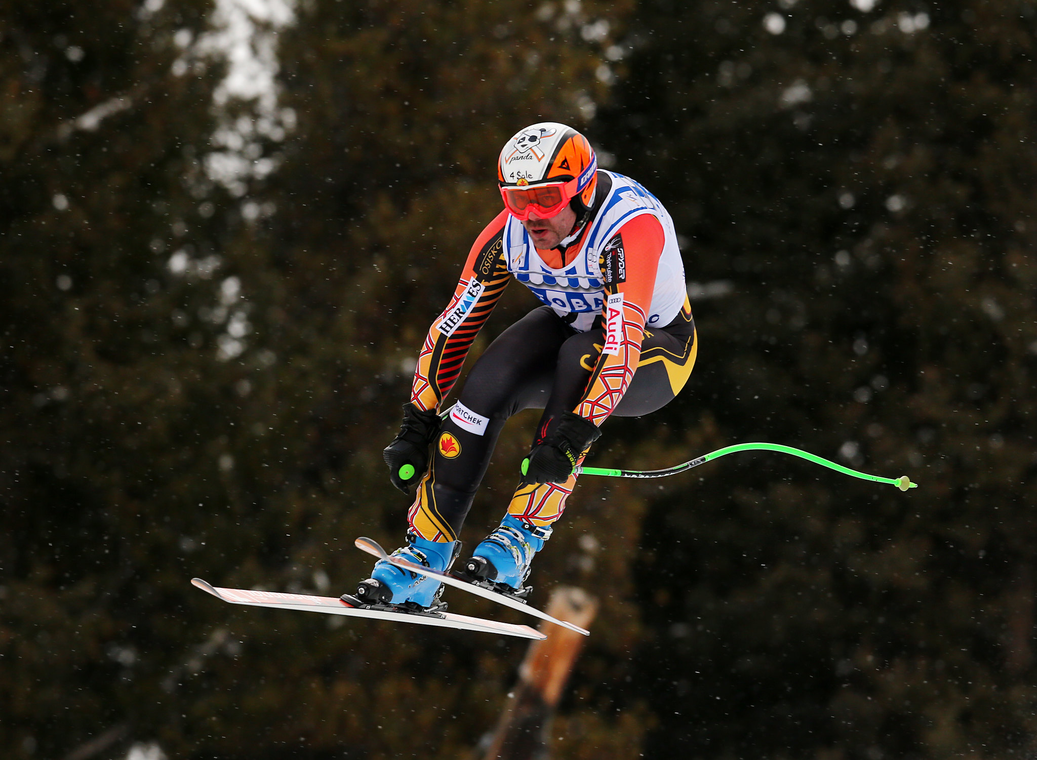 Jan Hudec soars to a 22nd place finish in the downhill in Lake Louise, CAN