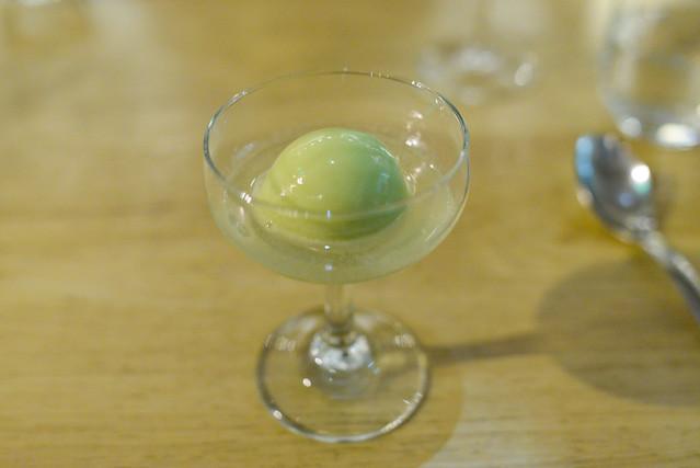 celery sorbet, verjus soda