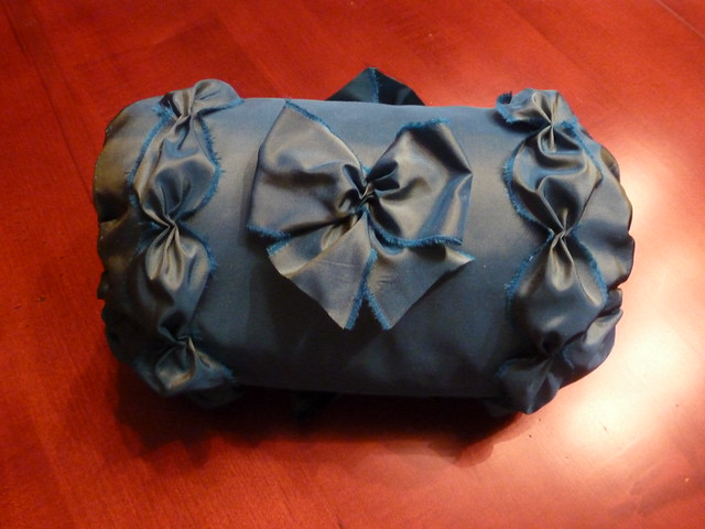 18th century blue/green changeable silk taffeta muff