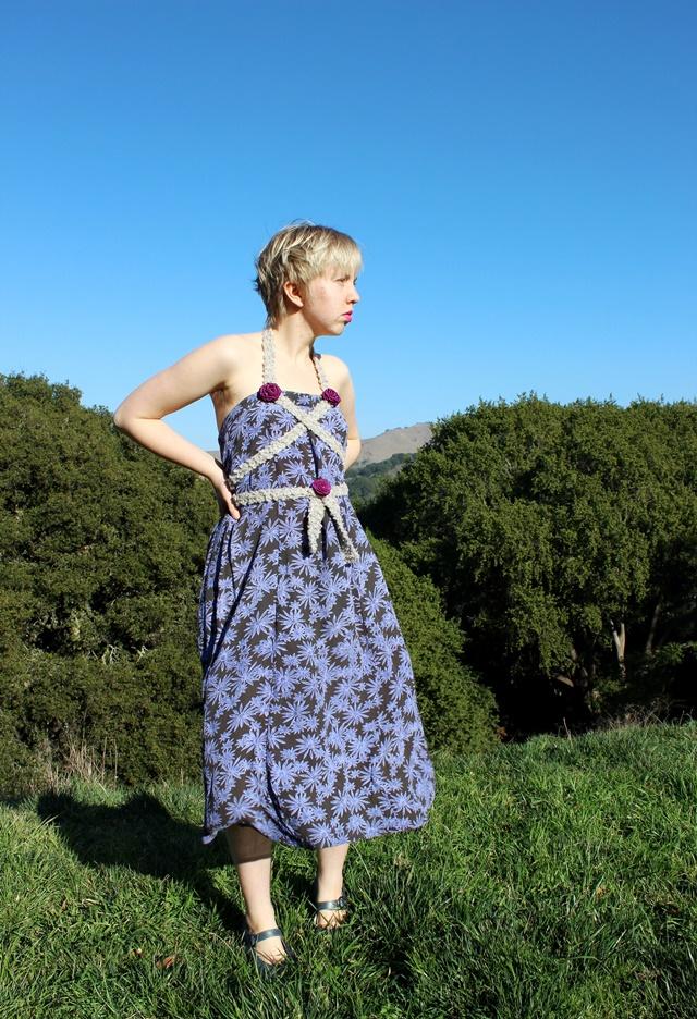 diy no-sew halter dress with purple rosettes - OOTD 1/19/2014