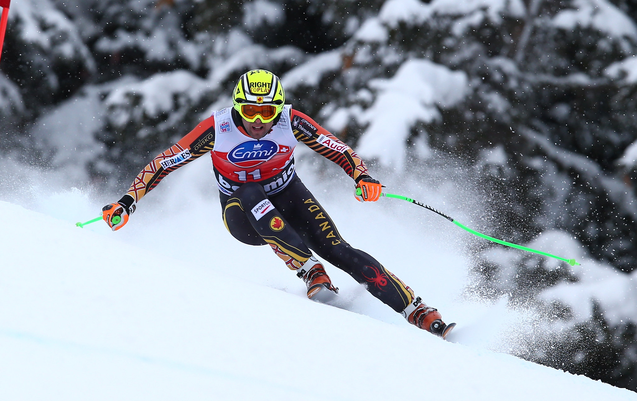 Osborne-Paradis speeds down the mountain during the downhill in Bormio, ITA