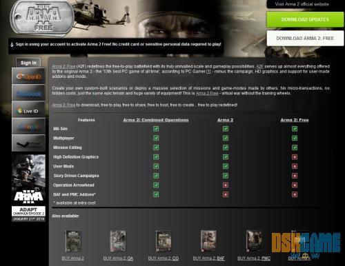 Arma II Free - Ventana de registro para clave