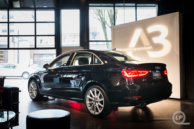 Black Audi A3 inside of Urban Studio