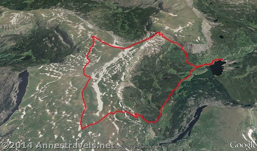 Visual map of the our trek on the Causeway Loop, Flat Tops Wilderness Area, Colorado