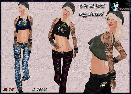 [NEW RELEASE ON SALE!] *P* Zoe MESH Pants ~Blue Camo, Pink Plaid, Wasted Black~