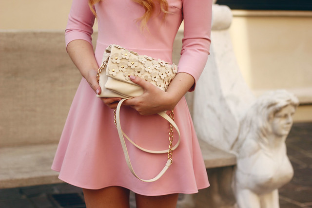 Pink Zara Tie Back Dress Outfit Accessorize Bag