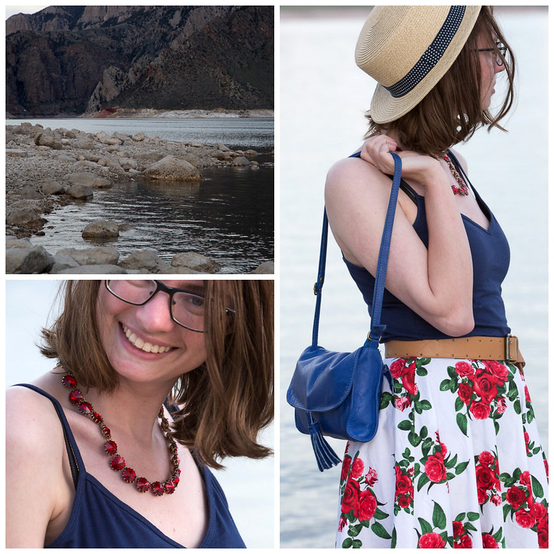 Hell bunny skirt, floral, rose, skirt, red, straw hat, boater hat, popbasic, ruby, new job, teaching job, wyoming, never fully dressed, withoutastyle,