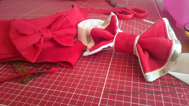 Herrenfliege und Damengürtel mit Fliege aus rotem Cord.