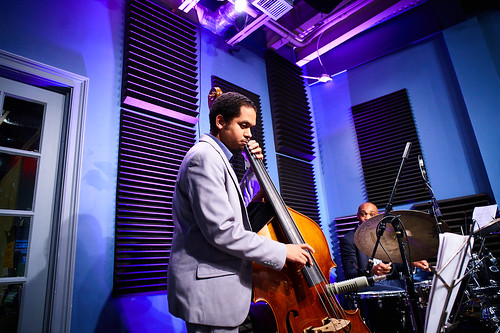 Jasen Weaver and Gerald Watkins of the David Harris Quartet at WWOZ. Photo by Eli Mergel