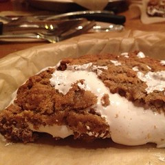 This is half a house made oatmeal cream pie. Wish the filling wasn\'t marshmallow fluff ...