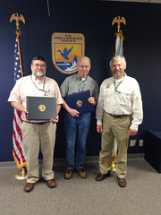 Photo caption: Estyn Meade (left) and Larry Salata (center) received Department of Interior's Citation of Meritorious Service on June 10.  U.S. Fish and Wildlife Service Deputy Director Rowan Gould presented the citations.
