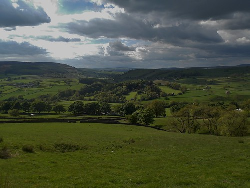 Wharfedale from Bolton Abbey near Skipton in North Yorkshire, England - May 2013