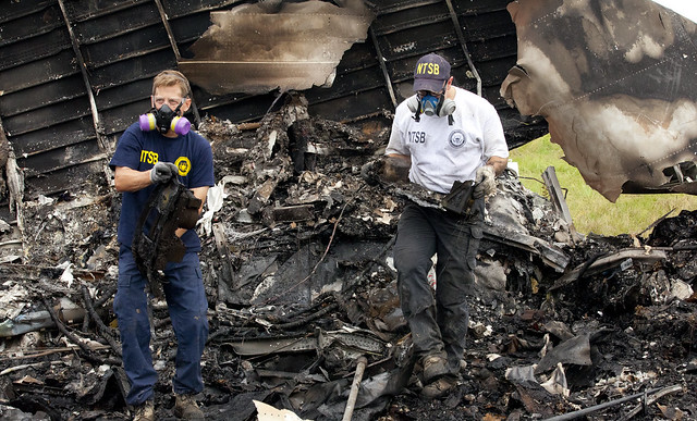 NTSB investigators remove the recorders from UPS 1354