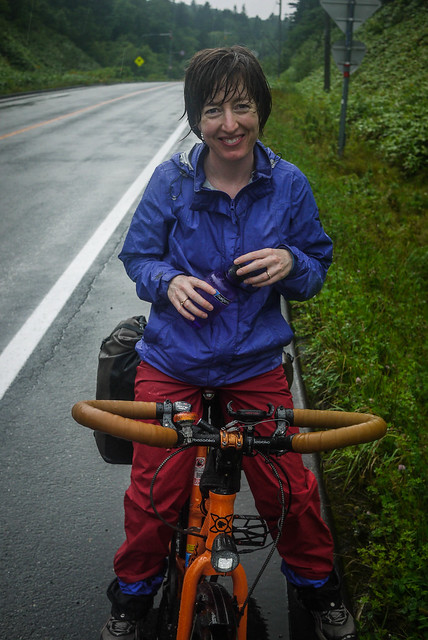 Wet but still smiling, near Cape Soya, Hokkaido, Japan