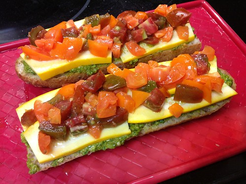 Tomato, Squash, and Pesto Open Sandwiches