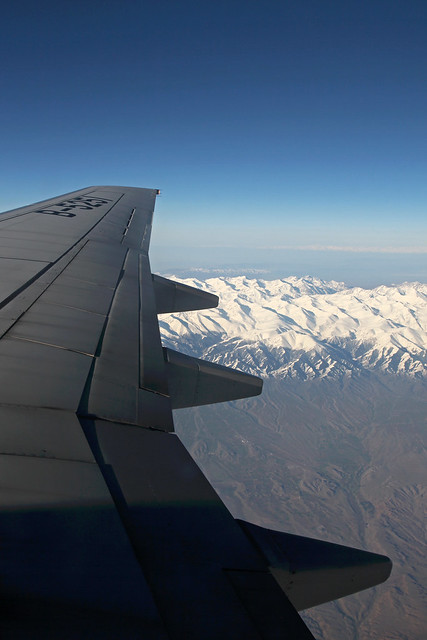 Tian Shan moutains from the airplane window 飛行機の窓から見た天山山脈