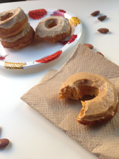 Pumpkin Donuts with Maple Almond Cream Cheese Frosting