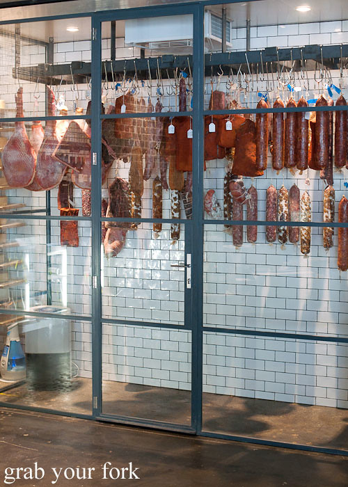 aging room for cured meats at restaurant nomad surry hills