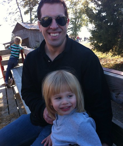 Lucy & my brother on a hayride.