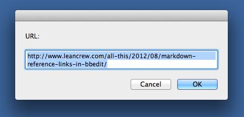 URL dialog window