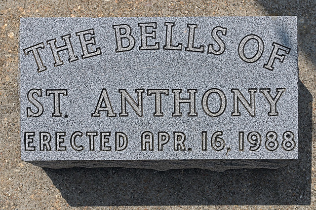Saint Anthony Roman Catholic Church, in Glennon, Missouri, USA - bells monument