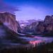 Yosemite Valley - Twilight Fog by Darvin Atkeson