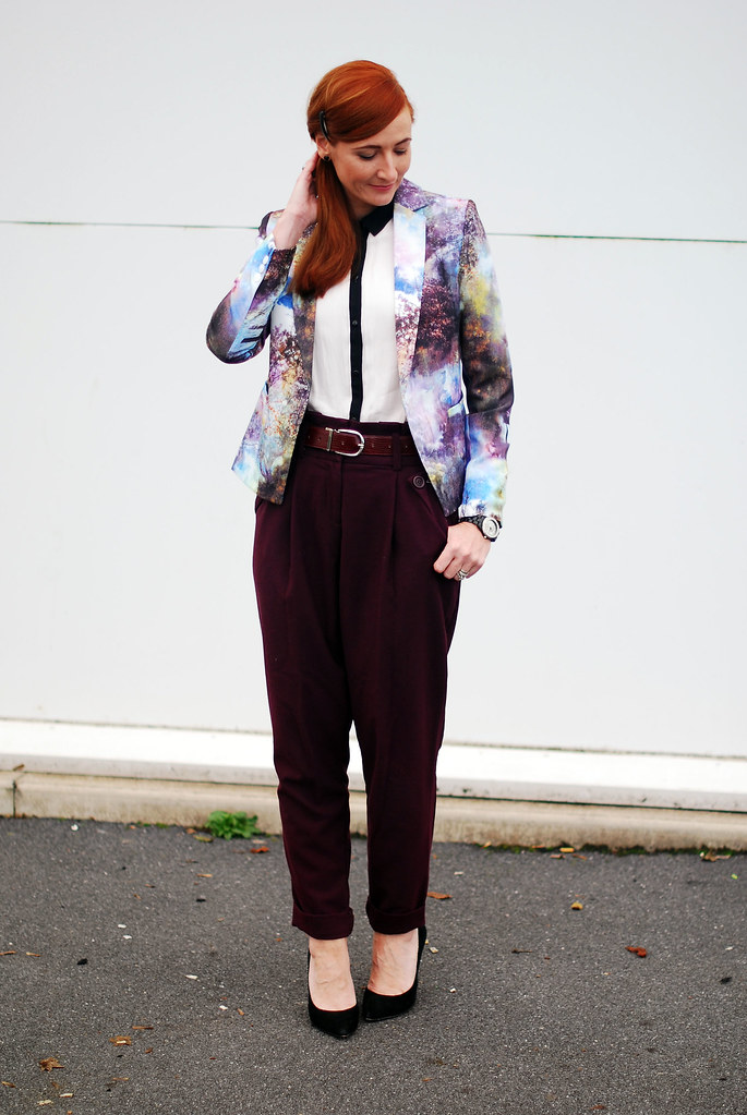 Landscape patterned blazer, black & white shirt and purple peg legs