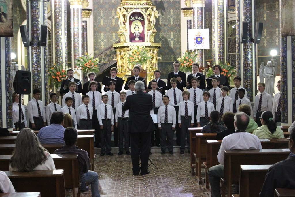 The San Francisco Boys Chorus performs in the Basilica de Los Angeles in Cartago