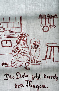 Textil Küchentuch Wandbehang besticken bestickt alt