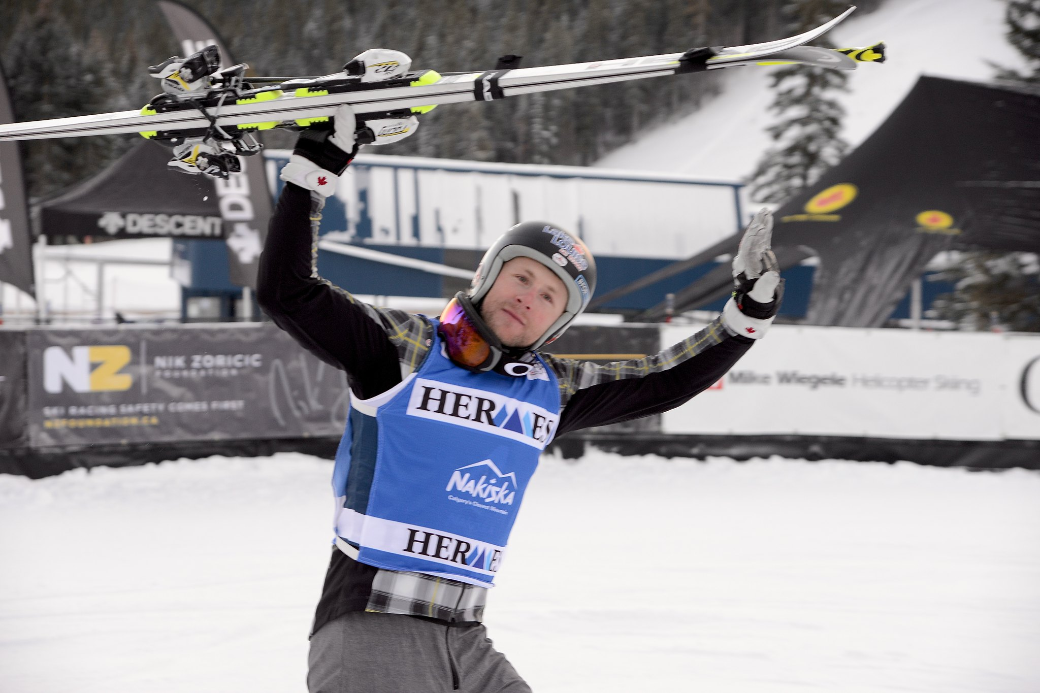 Brady Leman acknowledges the crowd following a 3rd place finish in Nakiska, CAN
