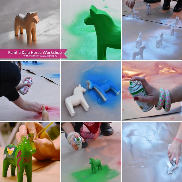 Spray Painting a Dala Horses