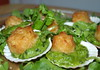Christmas Party Food - Mini battered scallops with minted pea puree