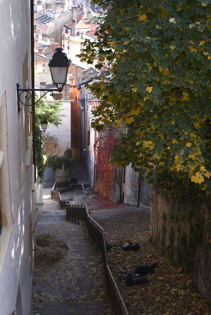 Escalier descendant de la colline de Fourvière vers le vieux Lyon