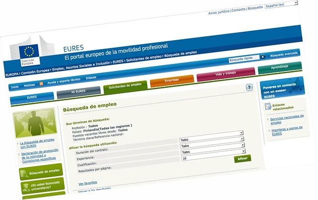 Web del EURES de empleo en Finlandia